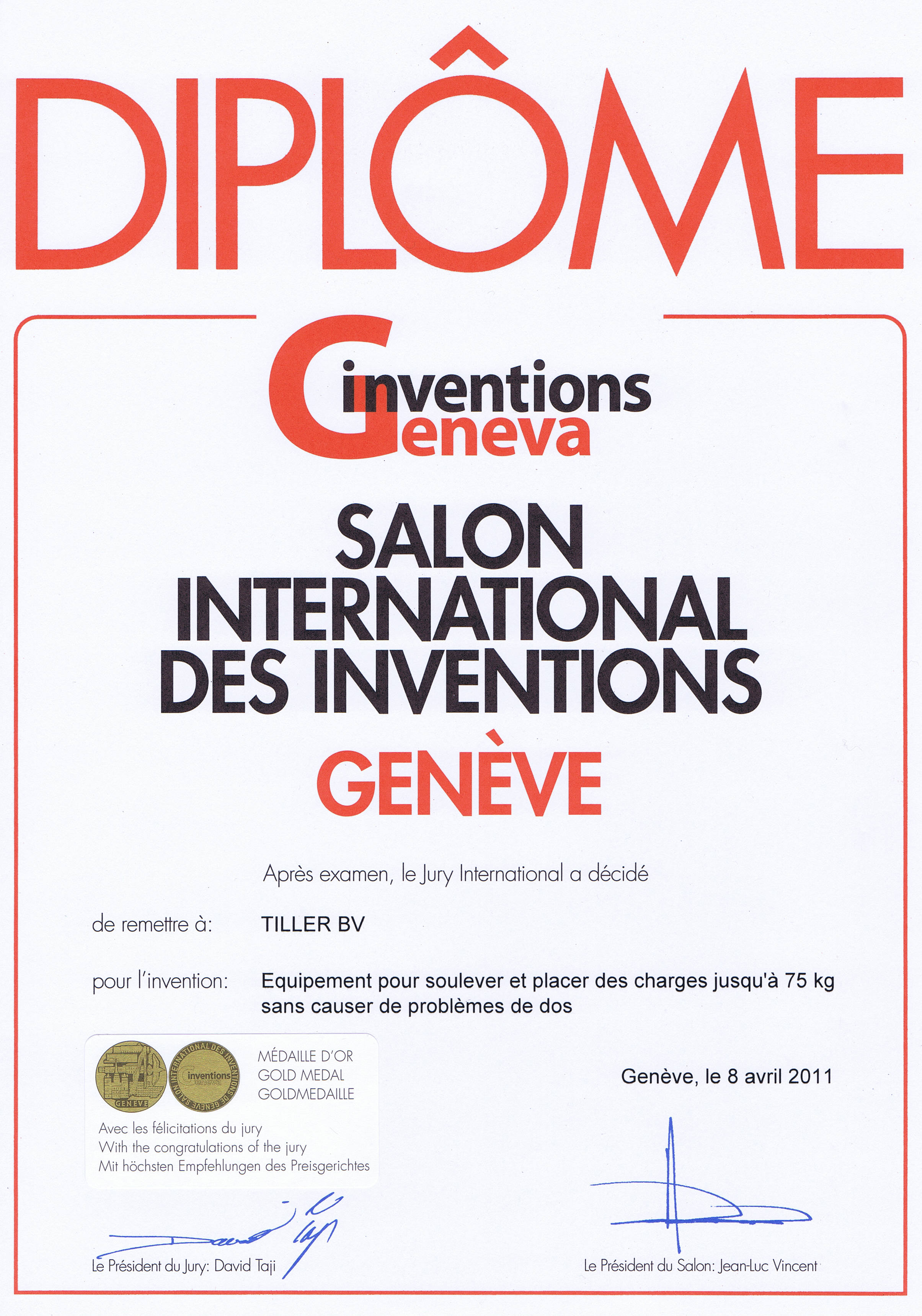 Diploma Salon des Inventions
